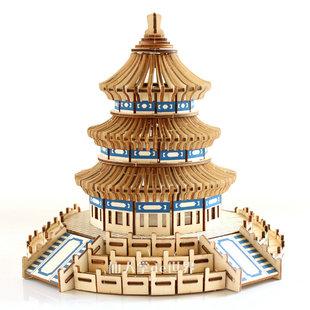 中国古建筑木板拼装模型3d仿真puzzle立体拼图手工制作成人玩具