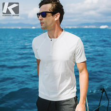 [Special offer] Summer new men's trend round neck shirt Half open head Slim shirt men's short sleeve 5567