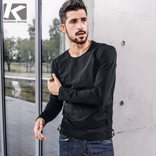 [Special] Autumn New Long Sleeve T-shirt for Men Fashionable Spliced Round-collar, Body-shaping, Pure-color Fashion Top 484