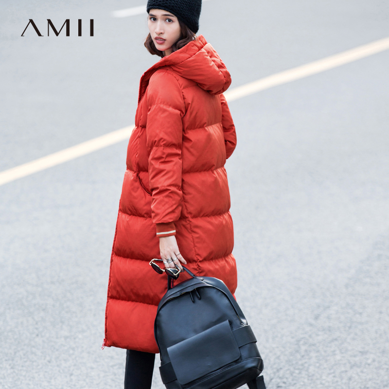 Amii极简韩版时尚红黑白色羽绒服女士2017新款中长超过膝加厚修身