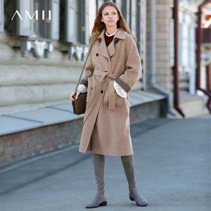 Amii极简北欧阿尔巴卡羊驼毛双面呢大衣女中长款2018冬新呢子外套