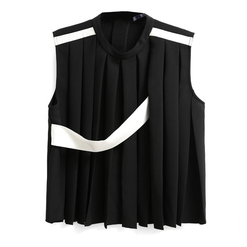 Amii[极简主义] 2017夏装设计师合作款直筒拼条压褶背心11713467