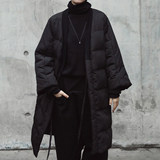 SIMPLE BLACK Dark Wind Winter New V-collar Bandwidth Loose Cotton Jacket Cotton Suit