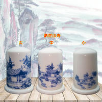 Blue and white bone china toothpick holder Chinese painting freehand home toothpick box living room dining room decoration toothpick cans custom LOGO