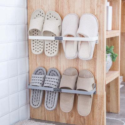 日式粘贴鞋架简易宿舍门后置物架卫生间壁挂式拖鞋架浴室鞋子收纳