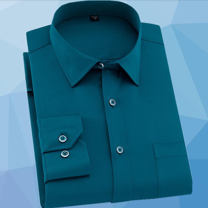 墨绿色弹力衬衫男长袖春夏季男士职业正装免烫修身韩版潮流打底衫