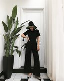 SeayaWuu halter black jumpsuit female Slim waist wide leg pants autumn new holiday wind trousers