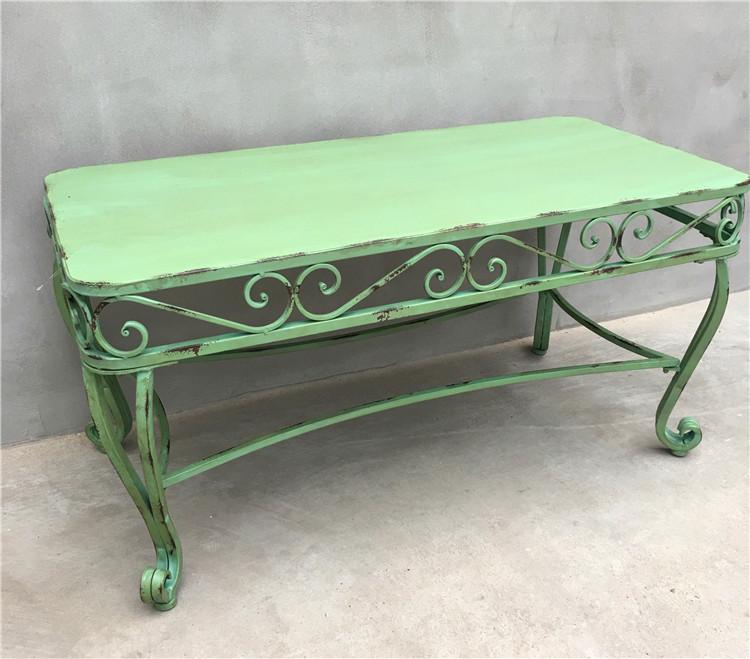 美式乡村花园露台桌椅做旧铁艺绿色多层园艺桌椅三件套园艺杂货