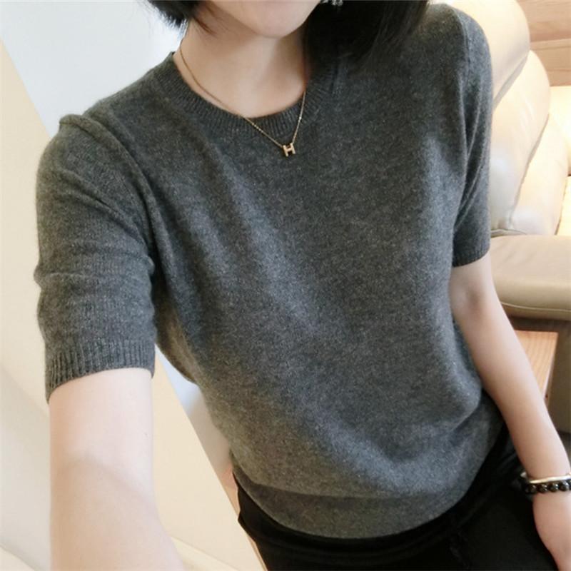 春秋新款圆领套头纯色羊毛短袖毛衣女宽松韩版半袖针织打底衫薄款