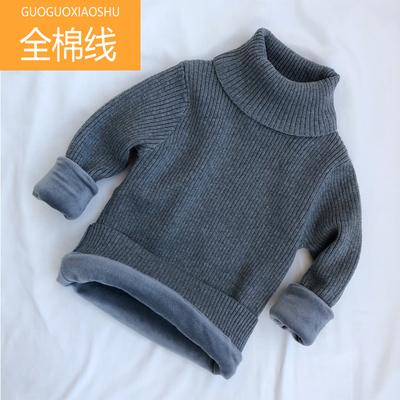 男童女童宝宝婴幼儿高领毛衣加绒加厚打底针织套头衫全棉黑白色冬