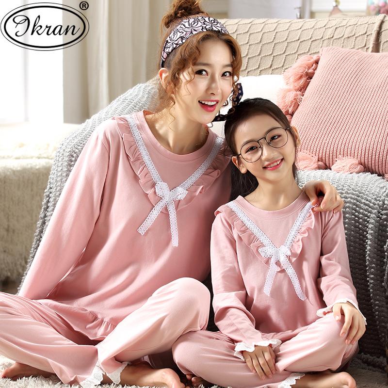 女童睡衣春秋季纯棉长袖套装公主小女孩宝宝儿童亲子装母女家居服