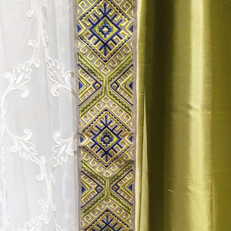 圣奇尼 新中式风 水墨系列 云带绣花 美式窗帘抱枕花边辅料批发