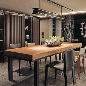北欧小户型长方形现代简约餐桌椅组合客厅饭桌复古铁艺实木餐桌
