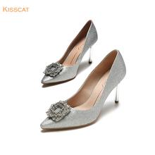 接吻猫秋新款细高跟时尚尖头浅口单鞋新娘鞋婚鞋女KA98504-81