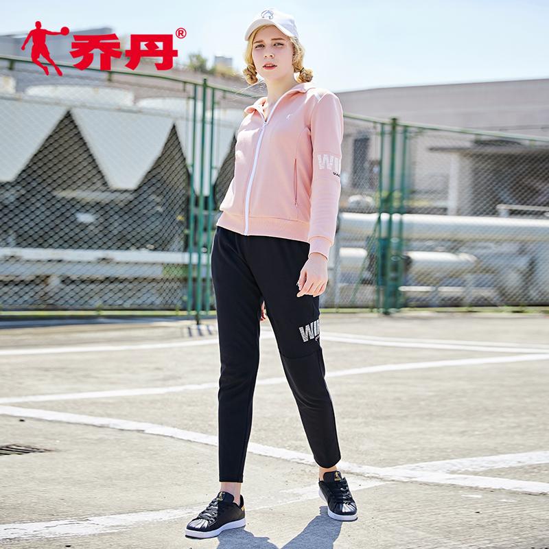乔丹运动套装女2018年秋季新款女装跑步服保暖时尚休闲健身运动服