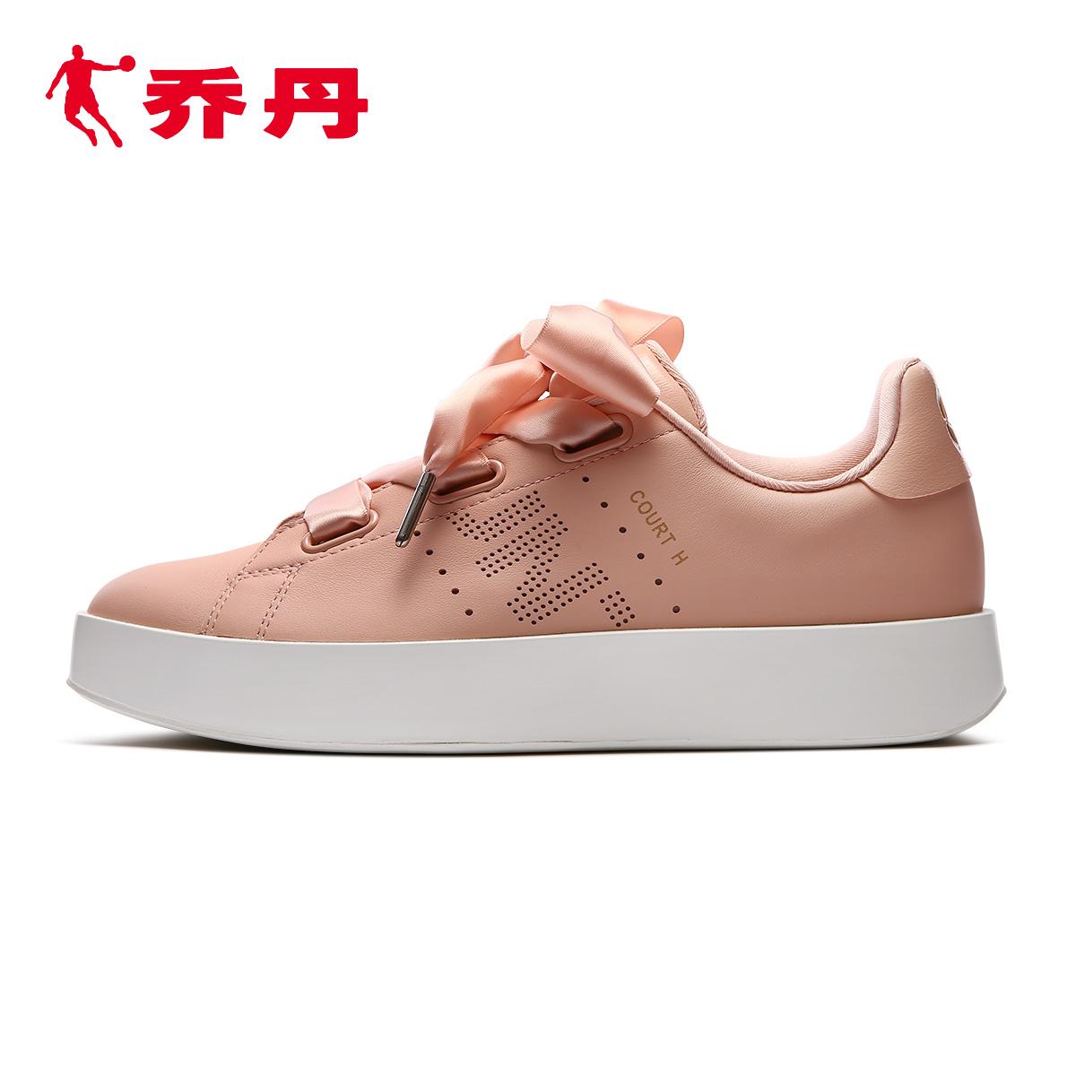 乔丹百尚运动鞋女2018秋冬新款宽版丝带厚底休闲街头板鞋