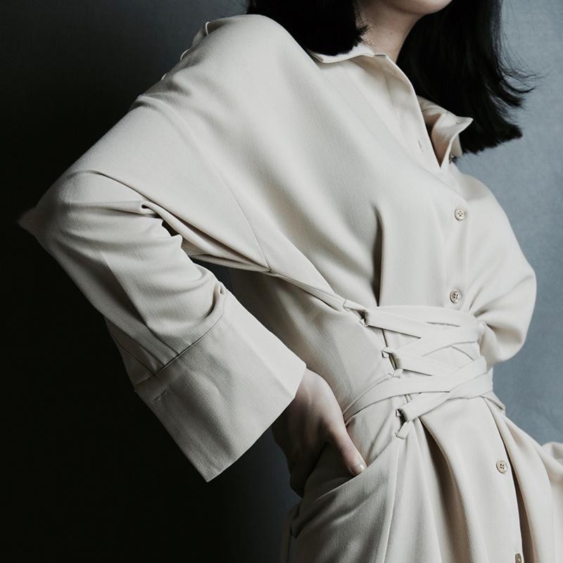 中长款长袖束腰裙
