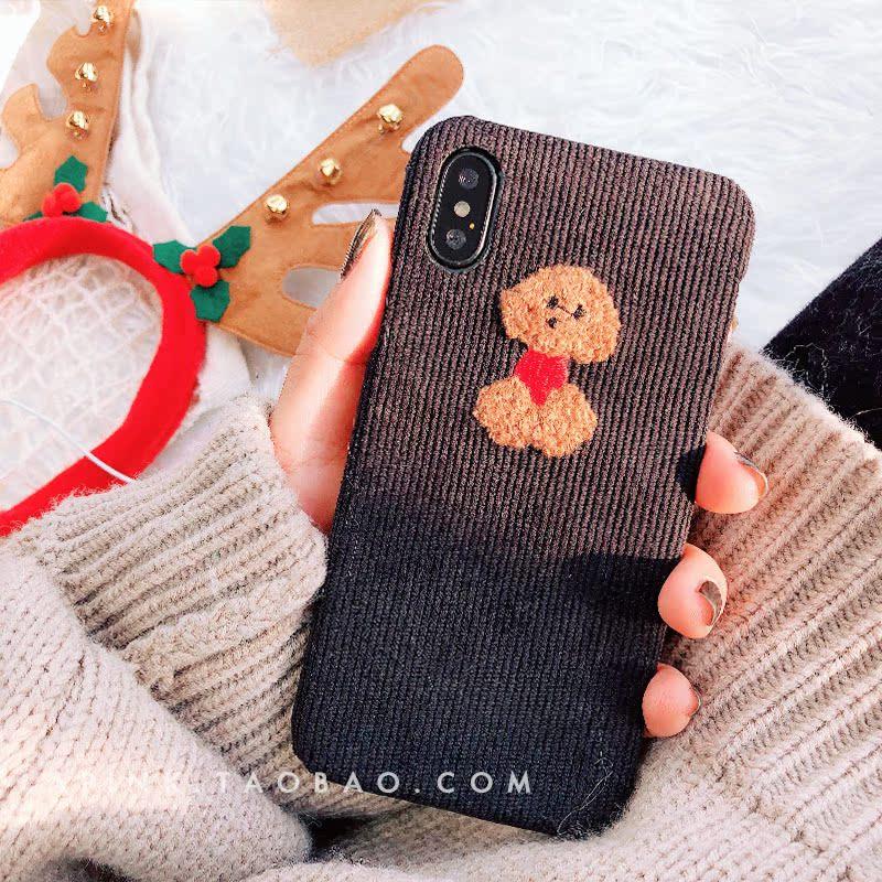 冬季灯芯绒X苹果8手机壳iphone7plus硬壳情侣毛绒绒6s网红同款7p
