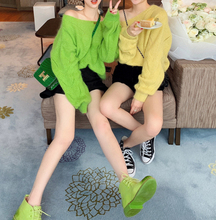 W-Flower Home Net Red Pullover with Sweater in Woman's Korean Edition Loose and Lazy Bottom Blouse Knitted Shirt Alice