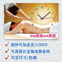 Frameless painting clock beauty salon painting wall clock mute watch health beauty beauty painting multi-picture optional can be customized