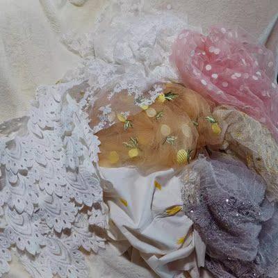 波点心菠萝彩色立体花网纱刺绣重工高级钉珠条纹金闪亮片礼服面料