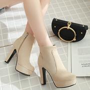 新款短靴女秋季粗跟靴子超高跟鞋防水台踝靴大码女鞋纯色马丁靴女