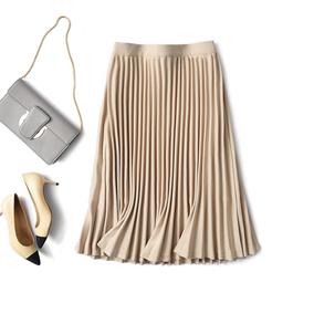 不可或缺的优雅韵味 渐变百褶 中长款百褶裙半身裙 米虫爱吃米