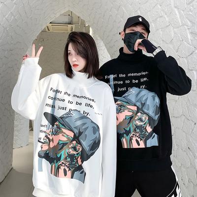 ins国潮嘻哈抽烟男印花高领加绒oversize冬季潮牌男女情侣装卫衣