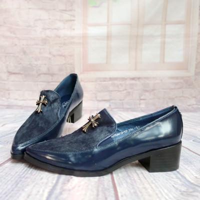 秋季中跟粗跟小尖头皮鞋女鞋马毛女士单鞋休闲鞋工作鞋子C52-3