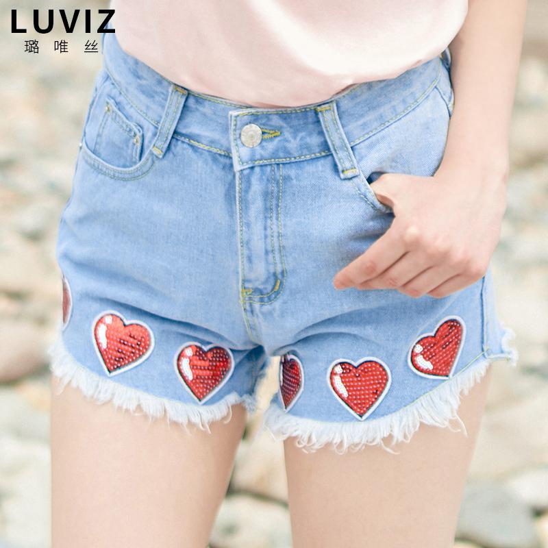 爱心牛仔短裤