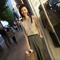 韩版短款棉麻宽松无袖绑带百搭打底吊带小背心女外穿夏季上衣外搭