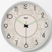 麦丁现代客厅欧式挂钟时尚 创意夜光钟表简约个性 时静音挂表C667