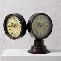 奇居良品欧式复古客厅书房家居装饰钟表摆件 爱森堡双面座钟