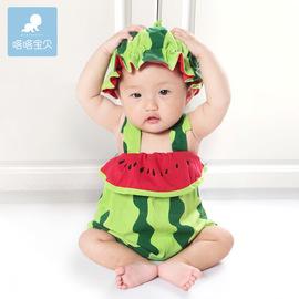 夏季婴儿衣服西瓜造型衣儿童吊带0-1-2岁宝宝表演服装3水果连体衣图片