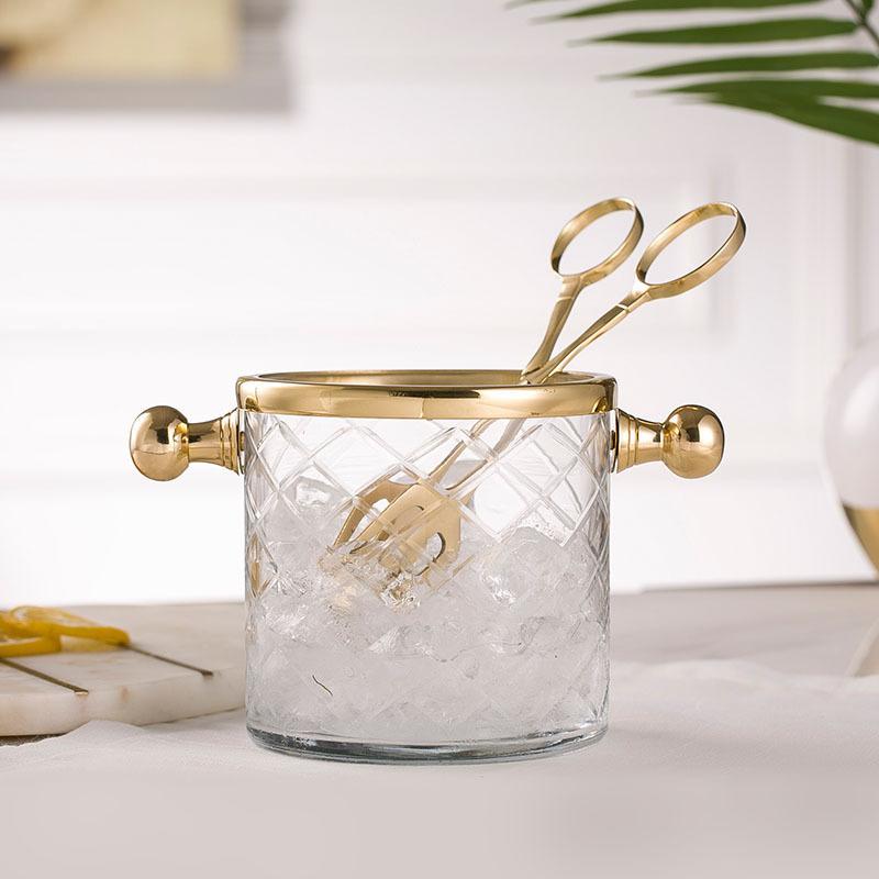 收获小屋印度进口手工黄铜玻璃冰桶带冰夹餐桌晏会香槟酒红酒酒具