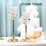 4373欧式水晶蜡烛台 高档金属烛台 轻奢婚礼样板房家居结婚礼物