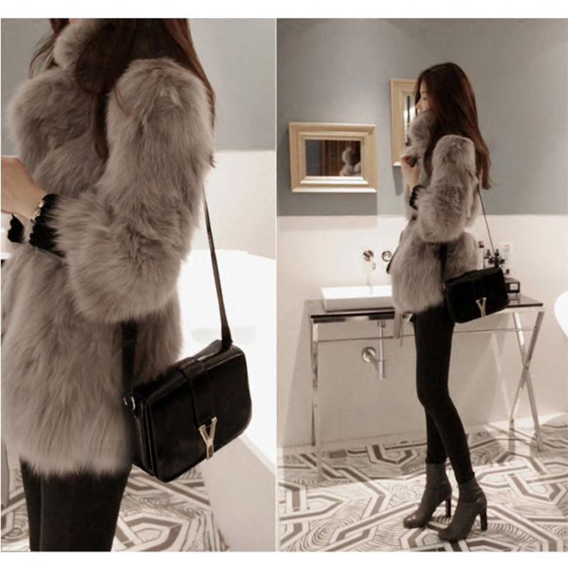 韩版 imitation fur coat female 2018 new winter long hair fur coat Slim