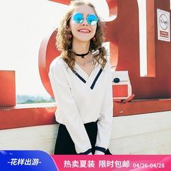 MG小象chic白色卫衣女春装2018新款韩版宽松长袖V领bf打底上衣潮