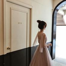 小Q家粉网站纱显瘦姐妹团伴娘服婚礼敬酒服女2018新款小礼服
