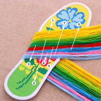 Cross stitch insoles for men and women semi-finished products hand-embroidered embroidered insoles deodorant cotton pinhole precision printed insoles