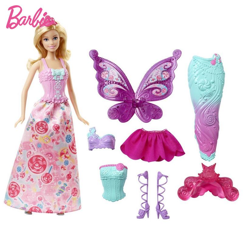 芭比娃娃童话换装组 女孩美人鱼玩具公主礼物换衣服套装礼盒DHC39