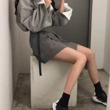 Autumn and winter new irregular half-length skirt tied with thin ins stripes high waist skirt female student A-shaped skirt