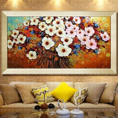 发财树油画纯手绘装饰画客厅背景墙抽象餐厅无框卧室壁画三联挂画