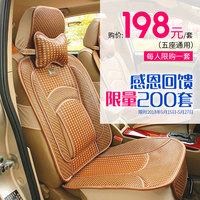汽车坐垫夏季新款五座通用型夏天清凉透气竹藤凉席车用座垫竹子片