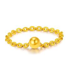 黄金戒指女足金转运珠戒指金指环金对戒手饰男情侣新年生日礼物