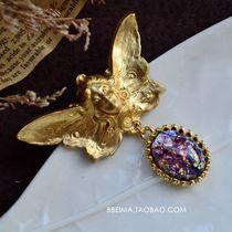 Bema main comme ange de produits de l'étranger vient de luxe opale pendentif portrait de broche en cuivre pur Western Antique Collection