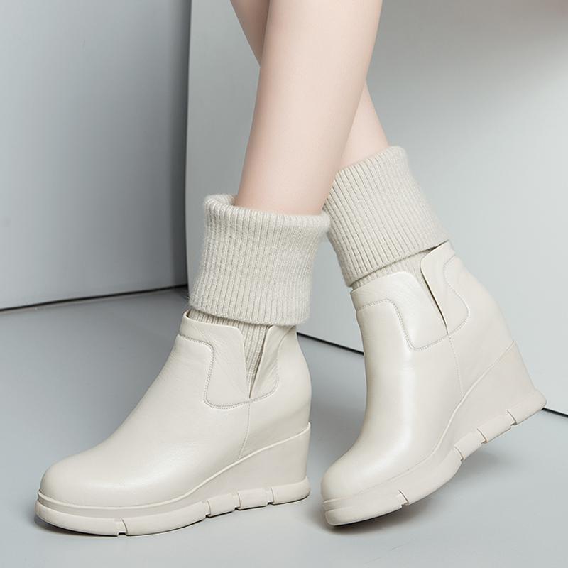 女靴秋季款坡跟欧美