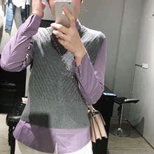 小Q韩时尚 5A78002 2019春款 斜纹纯羊毛百搭针织圆领马甲背心坎肩