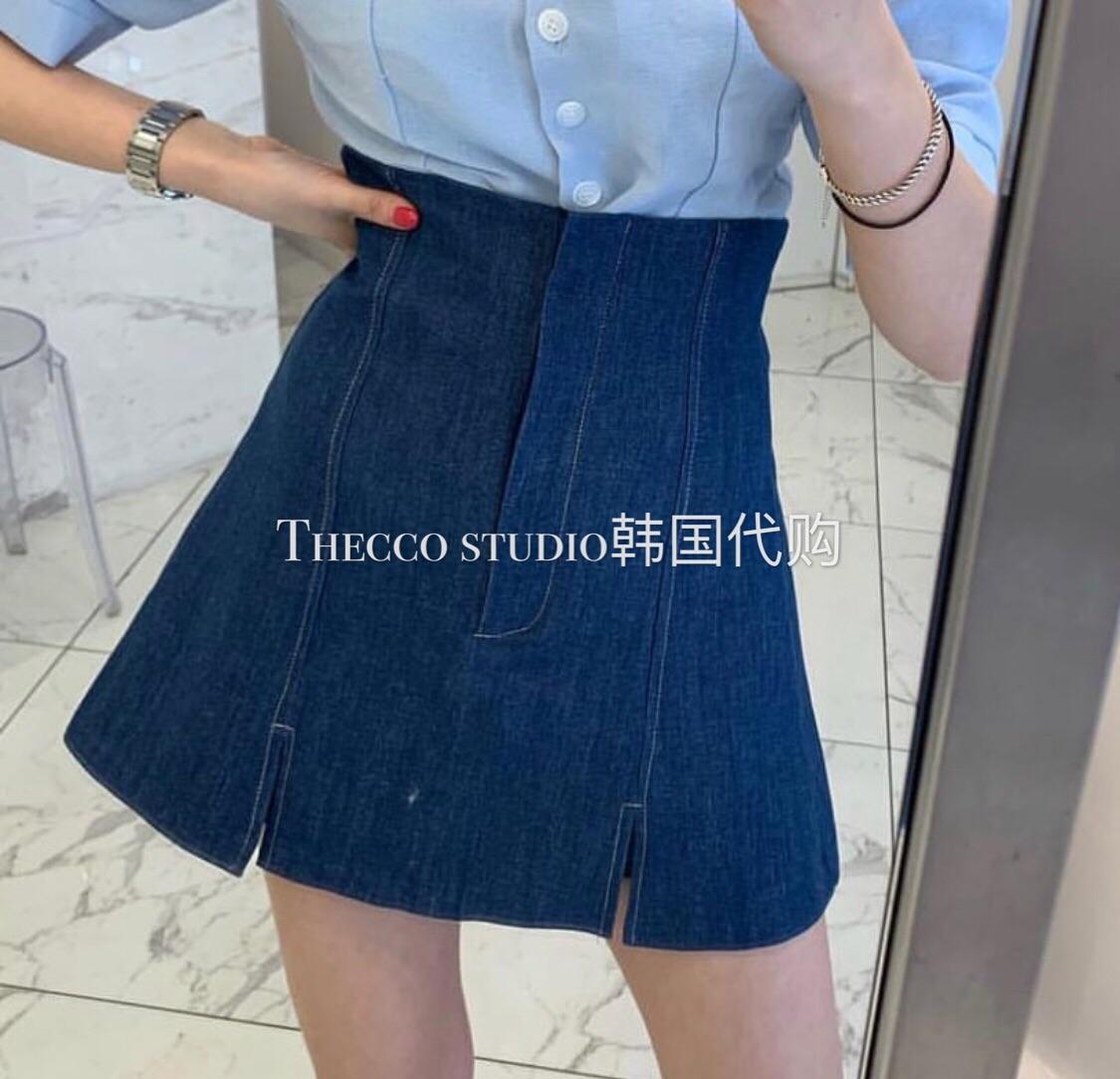韩国代购2019春夏新款女装 高腰修身半身裙 开衩短裙