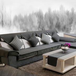 四季沙发垫巾罩套布艺通用夏季北欧风格简约现代全棉麻亚麻料灰色